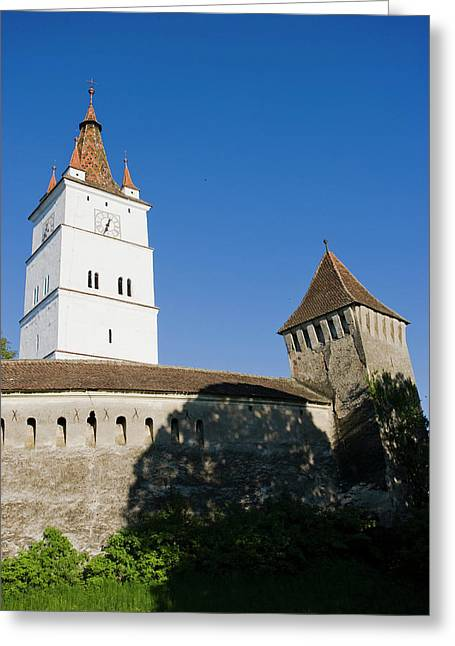 The German Fortified Church Of Harman Greeting Card by Martin Zwick