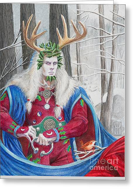 The Holly King Greeting Card by Melissa A Benson