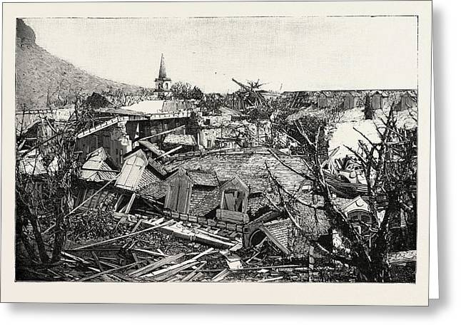 The Hurricane In Mauritius Views Of The Ruins In Port Louis Greeting Card by Mauritian School
