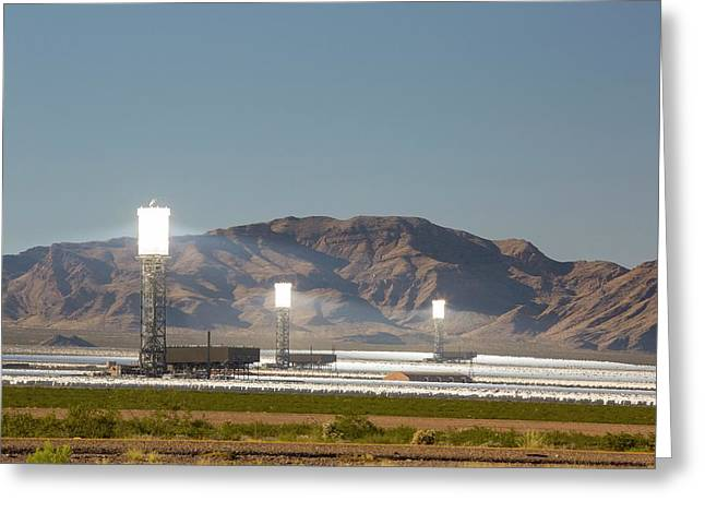 The Ivanpah Solar Thermal Power Plant Greeting Card by Ashley Cooper