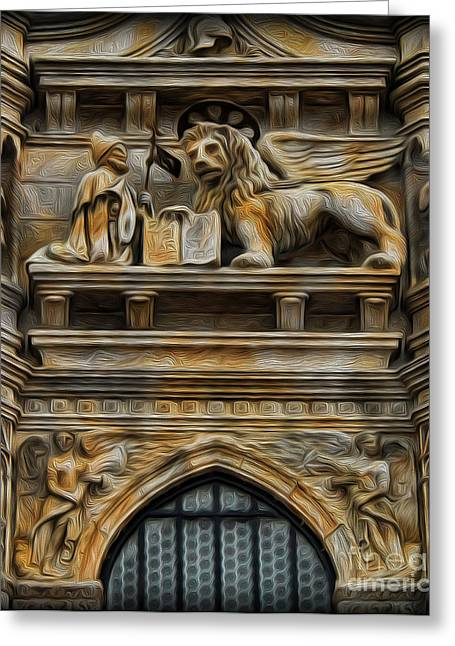 The Lion Of Venice Greeting Card by Lee Dos Santos