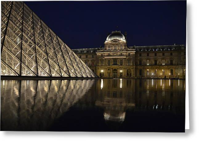 The Louvre Palace And The Pyramid At Night Greeting Card