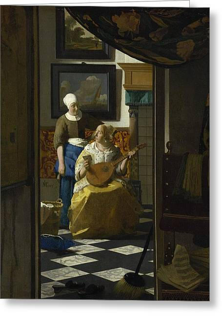The Love Letter Greeting Card by Johannes Vermeer