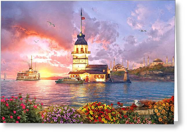 The Maiden Tower Greeting Card by Dominic Davison