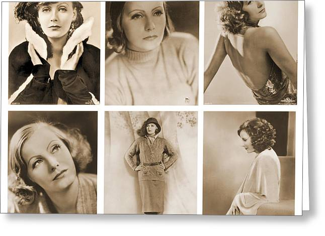 The Many Faces Of Greta Garbo Greeting Card by Photo Researchers