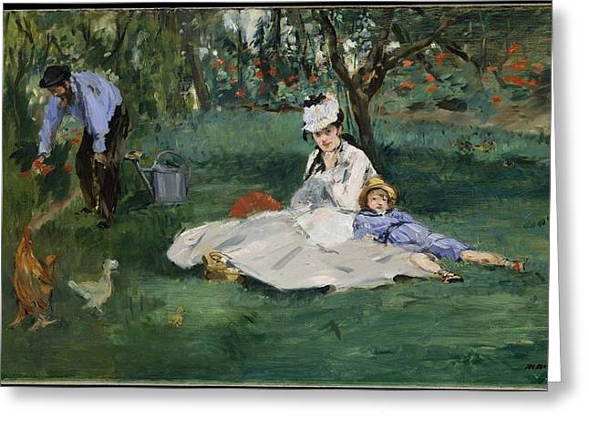 The Monet Family In Their Garden At Argenteuil Greeting Card