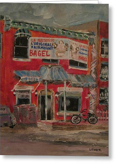 The Other Bagel Factory Greeting Card by Michael Litvack