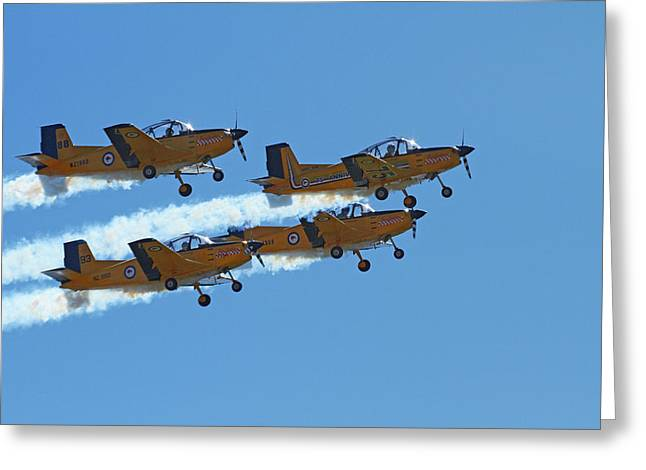 The Red Checkers Aerobatic Display Team Greeting Card by David Wall