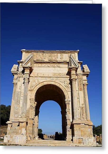 The Septimus Severus Arch At Leptis Magna In Libya Greeting Card by Robert Preston