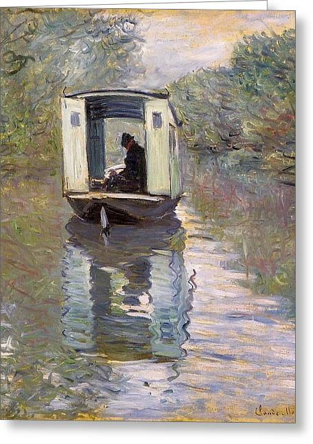The Studio Boat Greeting Card by Claude Monet