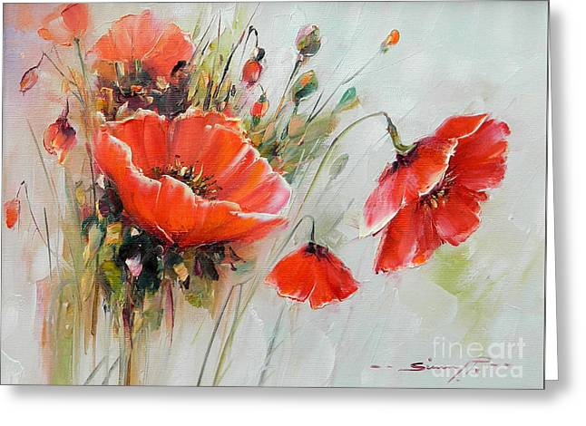 The Talk Of The Poppies Greeting Card by Petrica Sincu