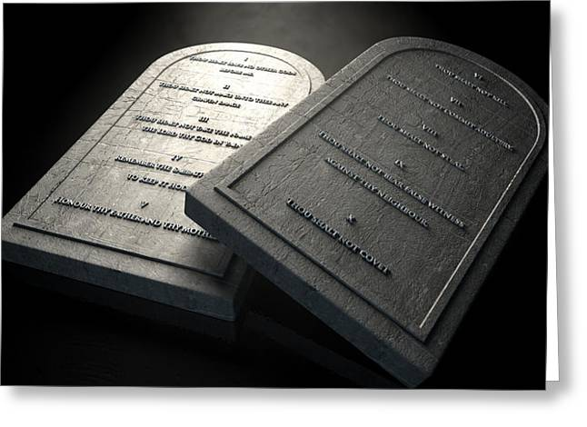 The Ten Commandments Greeting Card by Allan Swart