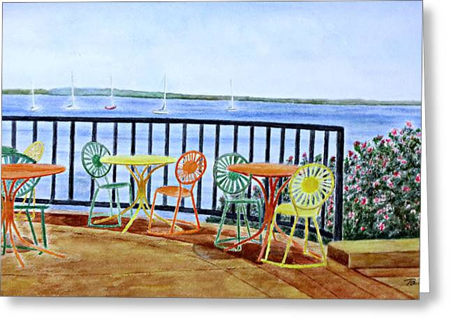 Greeting Card featuring the painting The Terrace View by Thomas Kuchenbecker