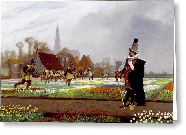 The Tulip Folly Greeting Card by Jean-Leon Gerome