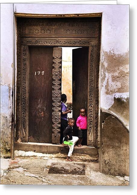 Greeting Card featuring the photograph Kids Playing Zanzibar Unguja Doorway by Amyn Nasser
