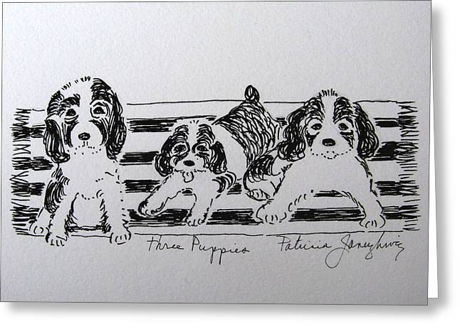 Greeting Card featuring the drawing Three Puppies by Patricia Januszkiewicz