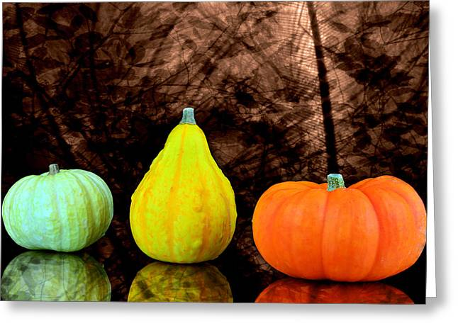 Three Small Pumpkins  Greeting Card by Tommytechno Sweden
