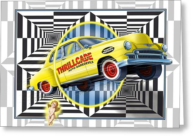 Thrillcade Greeting Card by Scott Ross