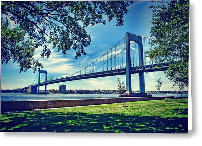 Throggs Neck Bridge Greeting Card by June Marie Sobrito