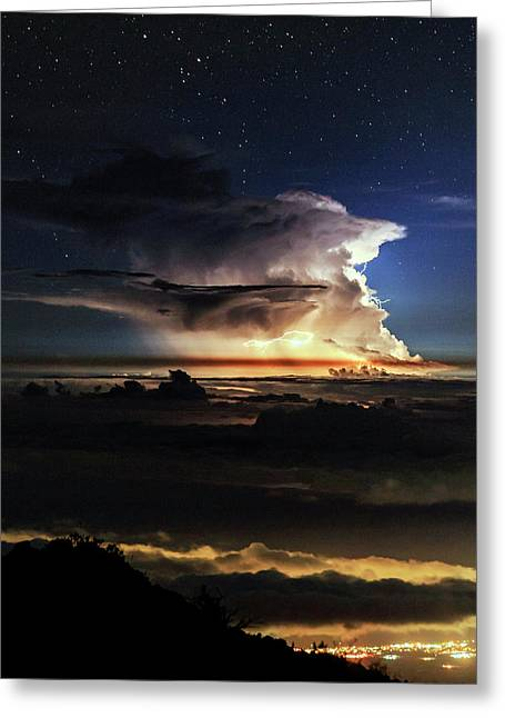 Thunderstorm From Haleakala Greeting Card by Babak Tafreshi
