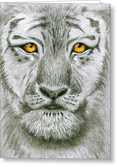 Tiger Tiger Burning Bright Greeting Card by Jo Appleby