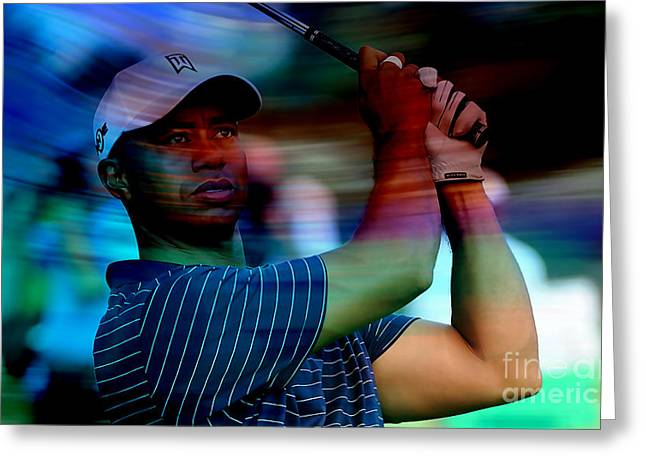Tiger Woods Greeting Card by Marvin Blaine