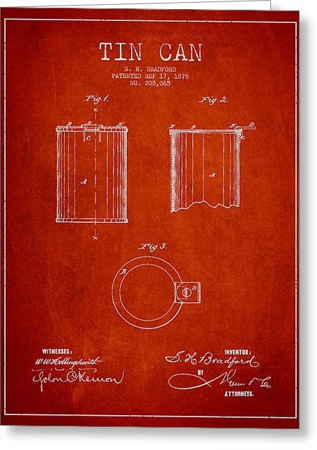 Tin Can Patent Drawing From 1878 Greeting Card