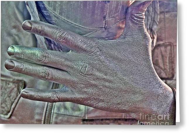 Greeting Card featuring the photograph Tin Man Hand by Lilliana Mendez