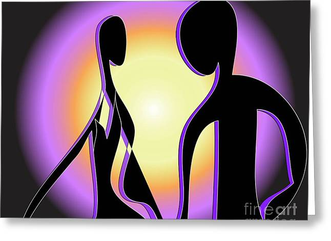 Greeting Card featuring the digital art Together Forever by Iris Gelbart