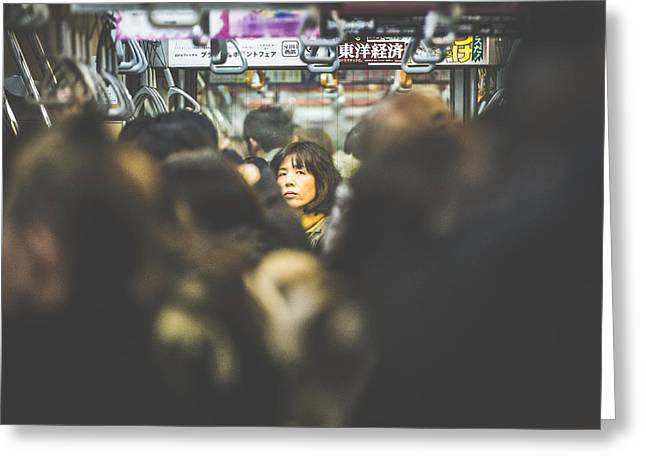 Tokyo Japan Train Woman Greeting Card by Cory Dewald