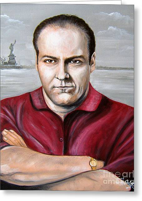 Greeting Card featuring the painting Tony Soprano by Patrice Torrillo