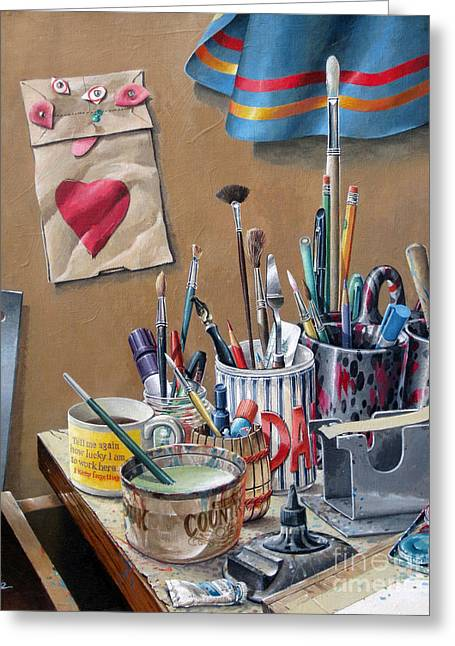 Greeting Card featuring the painting Tools Of The Trade by Bob  George