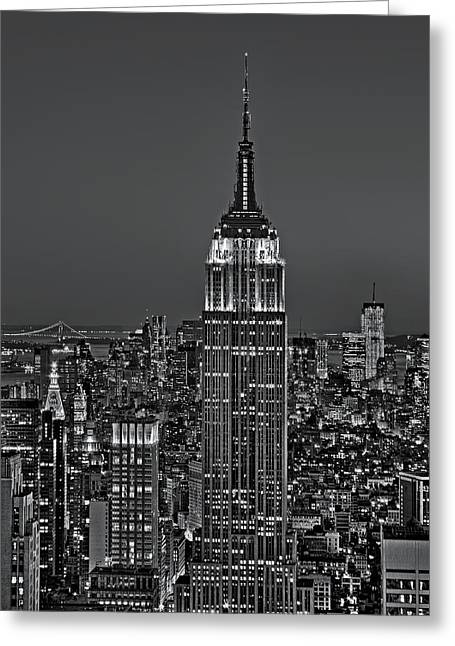 Top Of The Rock Bw Greeting Card by Susan Candelario
