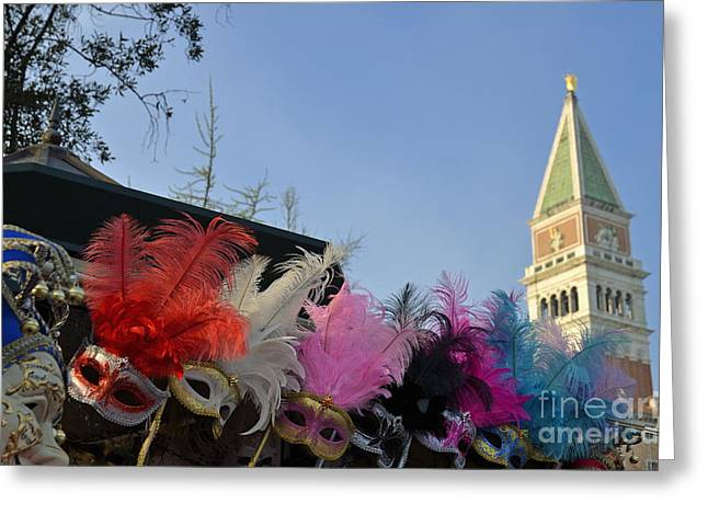 Traditional Venetian Masks With Feathers  Greeting Card by Sami Sarkis