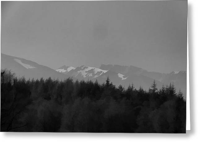 Treeline With Ice Capped Mountains In The Scottish Highlands Greeting Card
