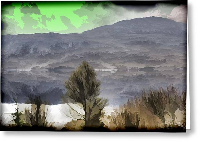 Trees On The Shore Of A Loch And Hills In The Scottish Highlands Greeting Card by Ashish Agarwal