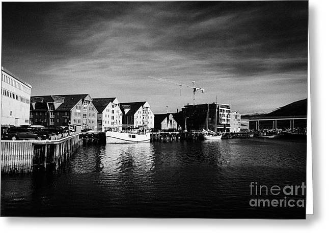 Tromso Bryggen Wharf Old Buildings Harbour Troms Norway Europe Greeting Card