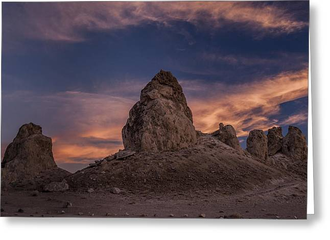 Trona Pinnacles Sunset Greeting Card by Cat Connor