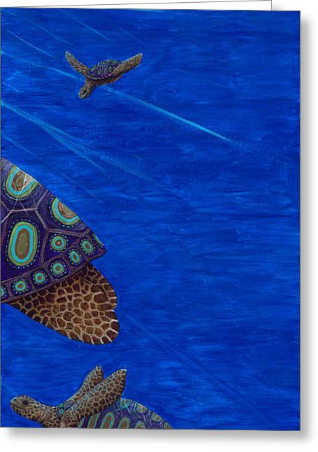 Greeting Card featuring the painting Turtle Painting Bomber Triptych 3 by Rebecca Parker