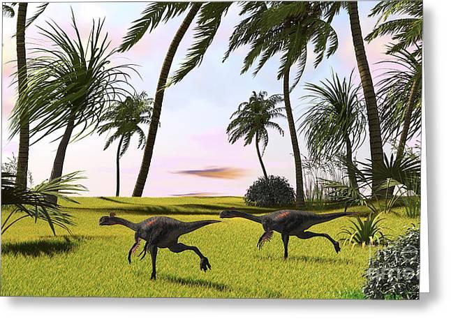 Two Gigantoraptors Running Greeting Card by Kostyantyn Ivanyshen