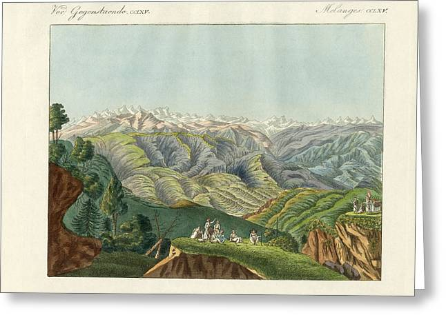 Two Views Of The Himalayas Greeting Card by Splendid Art Prints
