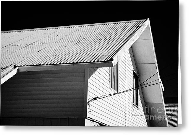 typical chilean construction house with metal tin roof Punta Arenas Chile Greeting Card by Joe Fox