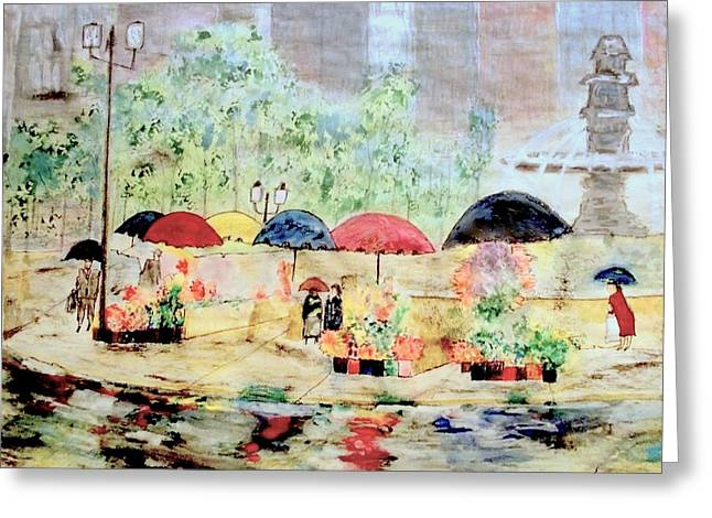 Umbrellas And Flowers   Greeting Card