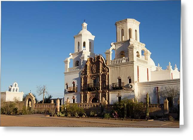 Usa, Arizona Mission San Xavier Del Greeting Card by Luc Novovitch