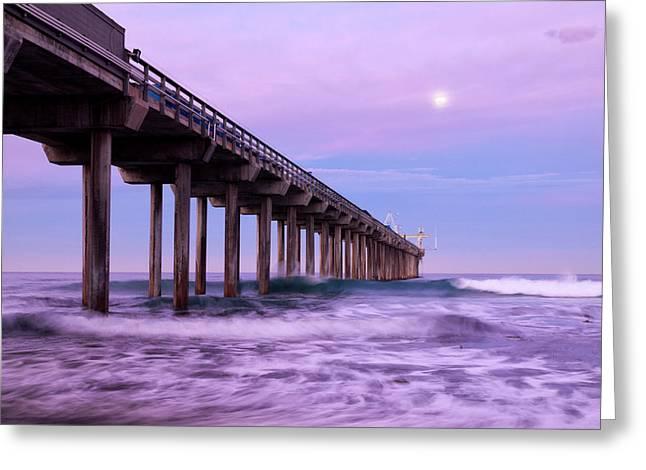 Usa, California, La Jolla, Full Moon Greeting Card by Ann Collins