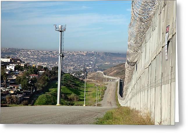 Usa-mexico Border Surveillance Greeting Card