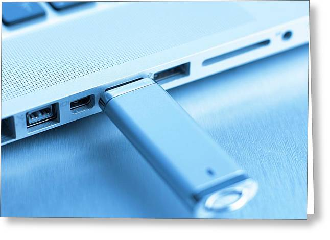 Usb Memory Stick And Laptop Greeting Card by Science Photo Library