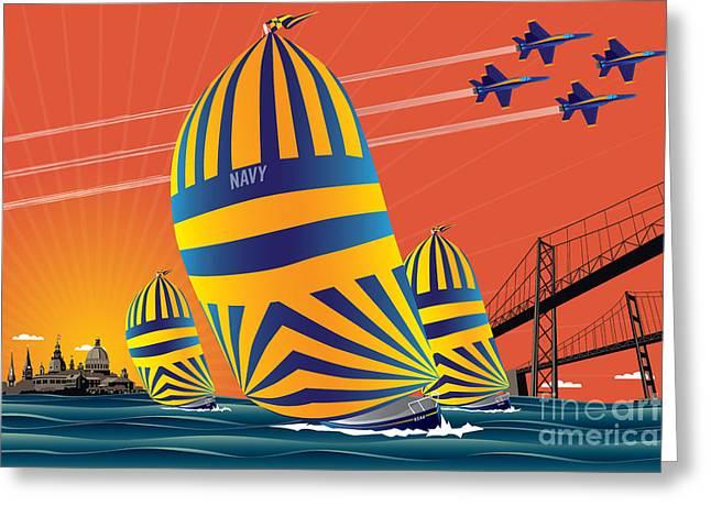Usna Sunset Sail Greeting Card