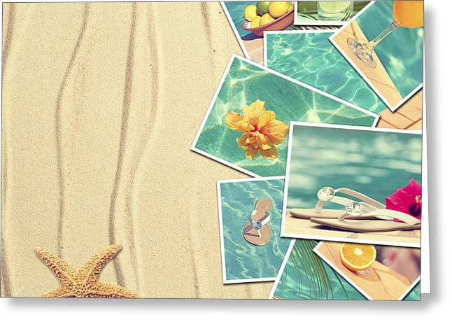 Vacation Postcards Greeting Card by Amanda Elwell