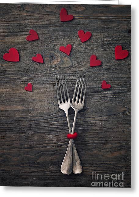 Valentines Dinner Greeting Card by Mythja  Photography